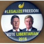 3rd Party 27J - Legalize Freedom Vote Libertarian Campaign Button