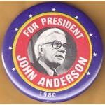 3rd Party 31D - For President John Anderson 1980 Campaign Button