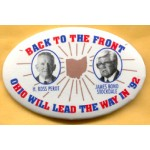 3rd Party 4C - Back To The Front H. Ross Perot James Bond Stockdale Ohio Will Lead The Way In '92 Campaign Button