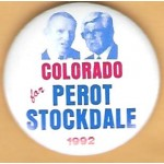 3rd Party 34K - Colorado for Perot Stockdale 1992 Campaign Button