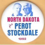 3rd Party 35H - North Dakota for  Perot Stockdale 1992 Campaign Button