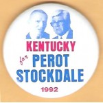 3rd Party 49E - Kentucky for  Perot Stockdale 1992 Campaign Button