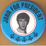 AD 28B  -  John (Lennon) For President Campaign Button