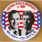 Bush 1M - Continue Peace & Prosperity in '88 Bush - Quayle Campaign Button