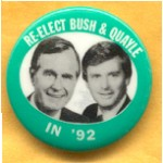 Bush 39B - Re-Elect Bush & Quayle In '92 Campaign Button