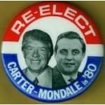 Carter 32E - Re-Elect Carter Mondale in '80 Campaign Button