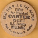 Carter 35B  - Best For N.J. & The Nation President Carter Senator Williams Wooden Nickel