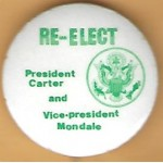 Carter 4H - Re - Elect President Carter and Vice - president  Mondale Campaign Button