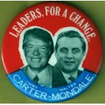 Carter 8D - Leaders , For  A Change Jimmy Carter Walter Mondale Campaign Button