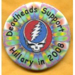 Clinton 11G - Deadheads Support Hillary in 2008 Campaign Button