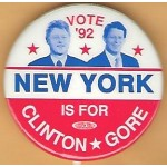 Clinton 11J - Vote '92 New York Is For Clinton Gore Campaign Button