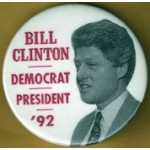Clinton 1J - Bill Clinton Democrat President '92 Campaign Button