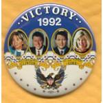 Clinton 24A - Victory 1992 Hillary and Bill Clinton Al and Tipper Gore Campaign Button