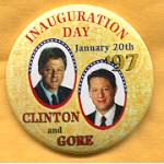 Clinton 67A - Inauguration Day January 20th '97 Clinton and Gore Campaign Button