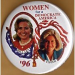 Clinton 78D  - Women For A Democratic America Hillary Tipper '96 Campaign Button