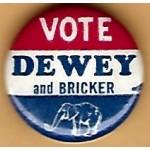 Dewey 2M  - Vote Dewey and Bricker Campaign Button