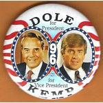 Dole 11J - Dole For President Kemp For Vice-President 96 Campaign Button