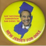 Dole 24C - New Jersey For Dole Campaign Button
