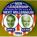 Dole 2J - New Leadership for the Next Millennium Dole Kemp 1996 Campaign Button