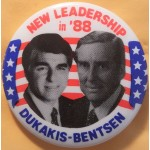 Dukakis 11G - New Leadership in '88 Dukakis Bentsen Campaign Button