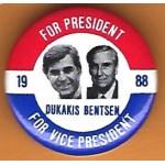 Dukakis 11H - For President Dukakis Bentsen For Vice President 1988 Campaign Button