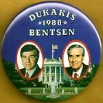 Dukakis 29A - Dukakis Bentsen 1988 Campaign Button