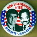 Dukakis 2M - New Leadership in '88 Dukakis Jackson Campaign Button