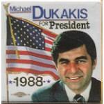 Dukakis 34N - Michael Dukakis For President 1988 Campaign Button