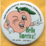 Dukakis 41A  - 1988 Democratic National Convention Hello America Campaign Button