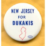 Dukakis 9A - New Jersey For Dukakis Campaign Button