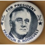FDR 9C - For President Franklin D. Roosevelt Campaign Button