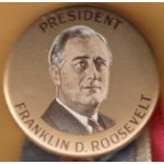 FDR 8K - President Franklin D. Roosevelt Campaign Button with Ribbons & Medal