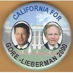 Gore 12J - California For Gore - Lieberman 2000 Campaign Button