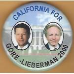 Gore 12J - California For Gore - Lieberman 2000 Campaign Button