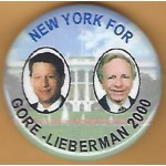 Gore 11J - New York For Gore - Lieberman 2000 Campaign Button