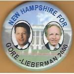 Gore 12L - New Hampshire For Gore - Lieberman 2000 Campaign Button