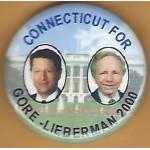 Gore 12M - Connecticut For Gore - Lieberman 2000 Campaign Button