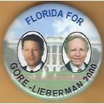 Gore 12N - Florida For Gore - Lieberman 2000 Campaign Button