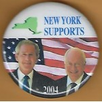 G. W. Bush 11F- New York  Supports (Bush Cheney) 2004 Campaign Button