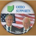G. W. Bush 14F- Ohio Supports (Bush Cheney) 2004 Campaign Button