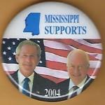 G. W. Bush 15H- Mississippi Supports (Bush Cheney) 2004 Campaign Button