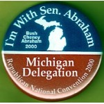 G.W. Bush 44D - I'm With Sen. Abraham Bush Cheney Abraham 2000 Campaign Button