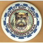 GW Bush 4J - Re-Elect Bush - Cheney Keep The Terrorists On The Run Campaign Button