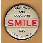 Harding 8B - Harding And Coolidge Smile 1920 Campaign Button