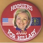 Hillary 28A - Hoosiers For Hillary 2016 Campaign Button