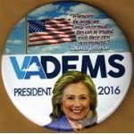 Hillary 32B - VA DEMS President 2016 Campaign Button