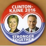 D9K - Clinton Kaine 2016 Stronger Together Campaign Button