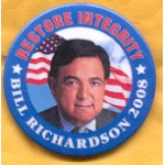 Hopeful 81C - Restore Integrity Bill Richardson 2008 Campaign Button