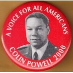 Hopeful 90K - A Voice For All Americans Colin Powell 2000 Campaign Button