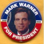 Hopeful 91C - Mark Warner For President 2008 Campaign Button